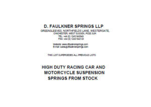 D Faulkner Springs Price List 2020 to 2022